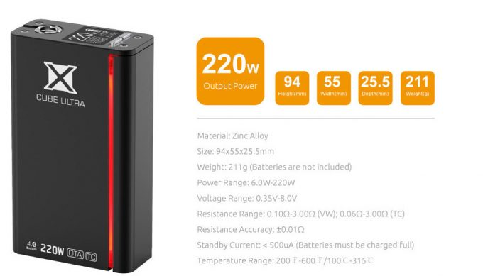 Smok-X-Cube-Ultra-Edition-220-Watt-Preview-specifications