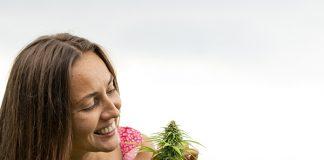 girl looking at cannabis